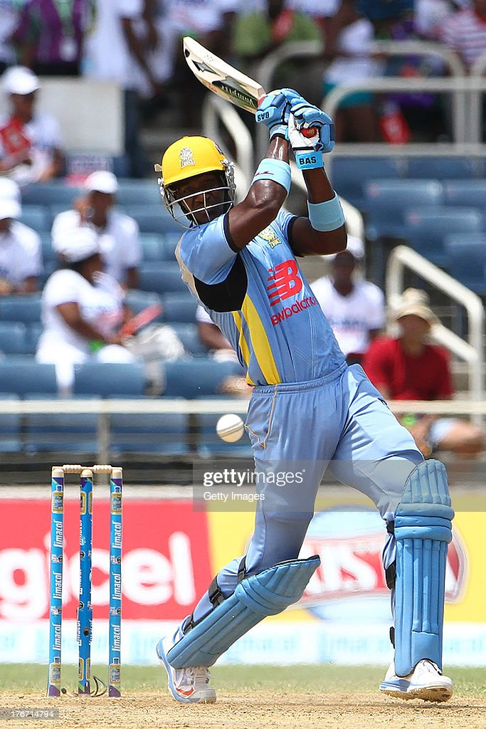 Darren Sammy during the Eighteenth Match of the Cricket Caribbean Premier League between St. Lucia Zouks v Trinidad and Tobago Red Steel at Sabina Park on August 17, 2013 in Kingston, Jamaica.