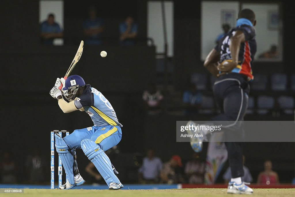 <a gi-track='captionPersonalityLinkClicked' href=/galleries/search?phrase=Darren+Sammy&family=editorial&specificpeople=2920912 ng-click='$event.stopPropagation()'>Darren Sammy</a> (L) is welcomed by a bouncer from Sheldon Cotterell (R) during a match between St. Lucia Zouks and Antigua Hawksbills as part of week 4 of the Limacol Caribbean Premier League 2014 at Beausejour Stadium on August 03, 2014 in Castries, St. Lucia.