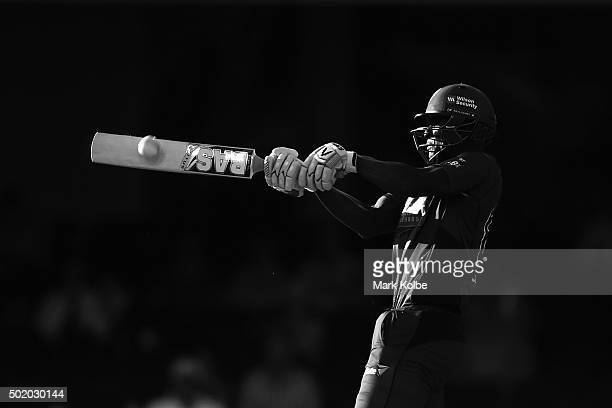 Darren Sammy of the Hurricanes bats during the Big Bash League match between the Sydney Sixers and the Hobart Hurricanes at Sydney Cricket Ground on...