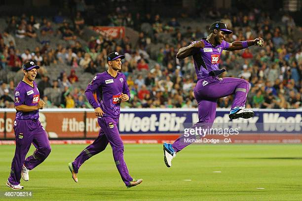 Darren Sammy of the Hurricanes celebrates a catch during the Big Bash League match between the Melbourne Stars and the Hobart Hurricanes at Melbourne...