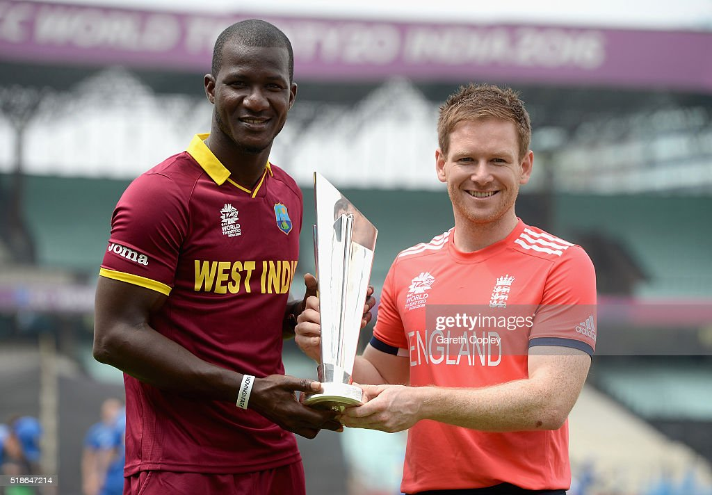 <a gi-track='captionPersonalityLinkClicked' href=/galleries/search?phrase=Darren+Sammy&family=editorial&specificpeople=2920912 ng-click='$event.stopPropagation()'>Darren Sammy</a> of the West Indies and England captain <a gi-track='captionPersonalityLinkClicked' href=/galleries/search?phrase=Eoin+Morgan&family=editorial&specificpeople=689581 ng-click='$event.stopPropagation()'>Eoin Morgan</a> pose with the ICC World T20 trophy ahead of tomorrrow's ICC World Twenty20 India 2016 Final between England and West Indies at Eden Gardens on April 2, 2016 in Kolkata, India.