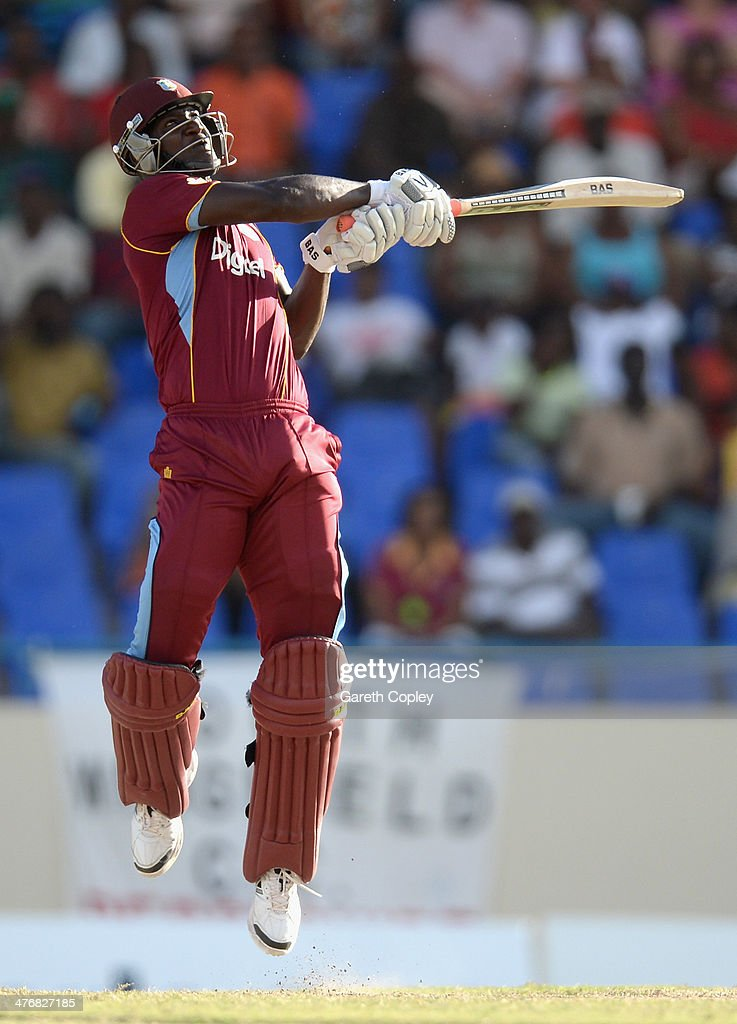 <a gi-track='captionPersonalityLinkClicked' href=/galleries/search?phrase=Darren+Sammy&family=editorial&specificpeople=2920912 ng-click='$event.stopPropagation()'>Darren Sammy</a> of the West Indies bats during the 3rd One Day International between the West Indies and England at Sir Viv Richards Cricket Ground on March 5, 2014 in Antigua, Antigua and Barbuda.