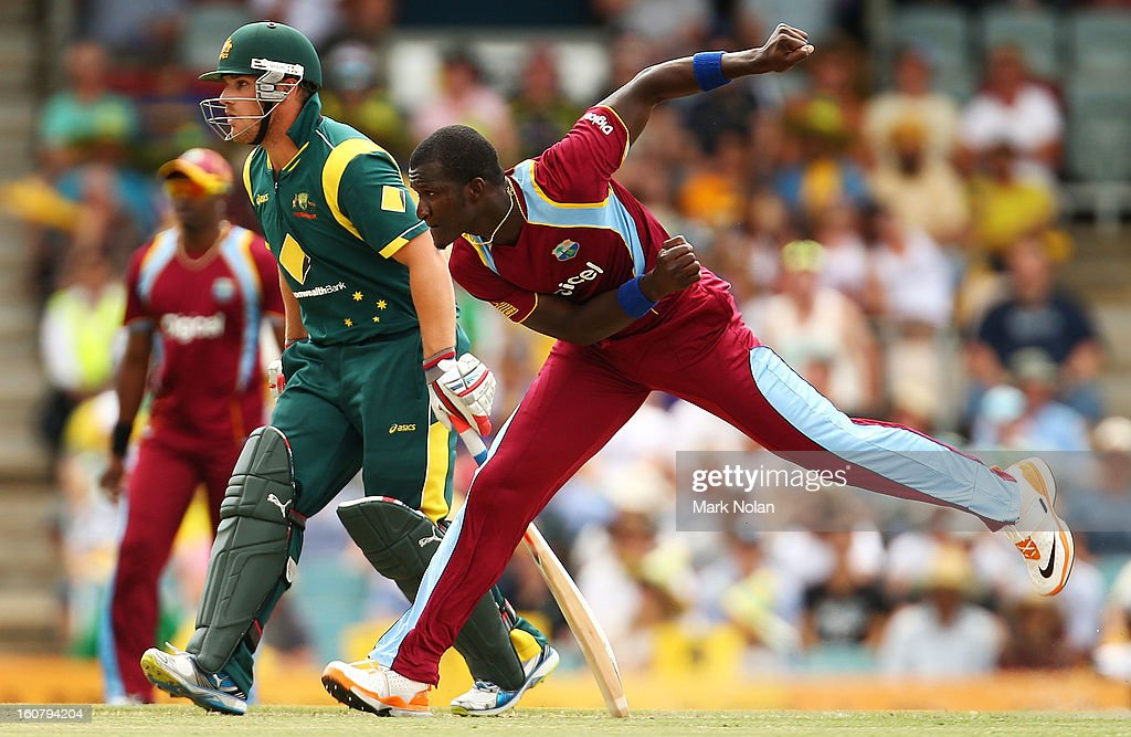 Darren Sammy of the West Indies bowls during the Commonwealth Bank One Day International Series between Australia and the West Indies at Manuka Oval on February 6, 2013 in Canberra, Australia.