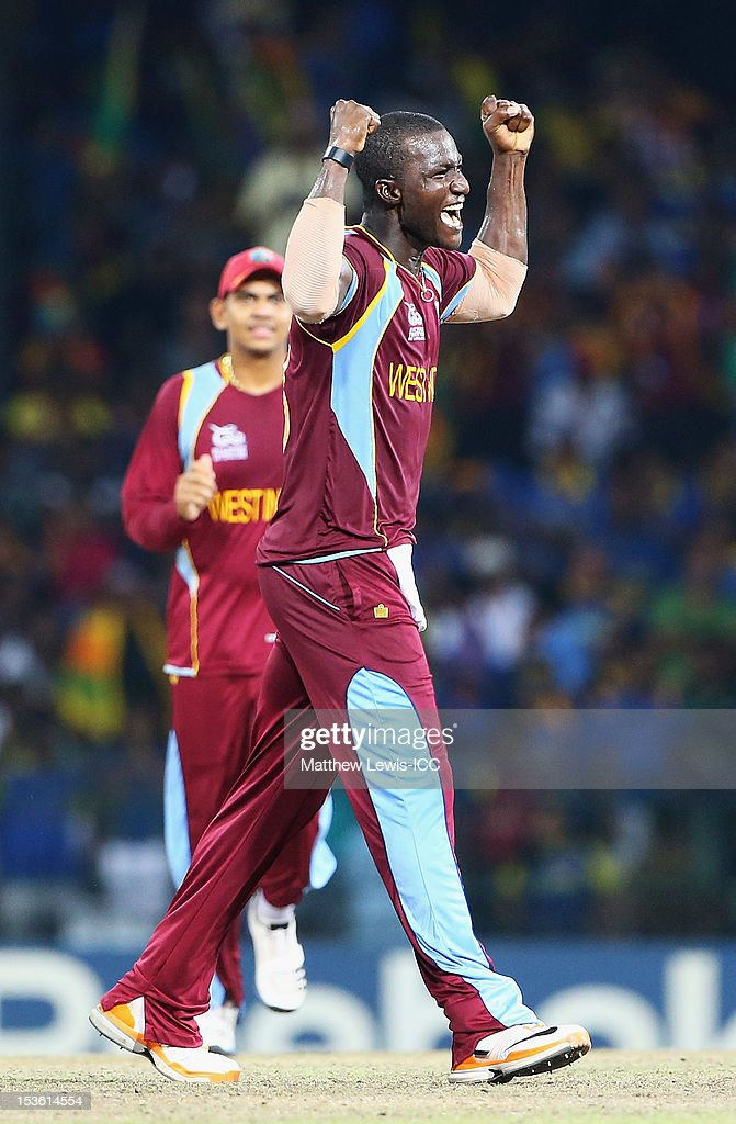 Darren Sammy of the West Indies celebrates the wicket of Lahiru Thirimanne of Sri Lanka, after he was caught by Johnson Charles during the ICC World Twenty20 2012 Final between Sri Lanka and West Indies at R. Premadasa Stadium on October 7, 2012 in Colombo, Sri Lanka.