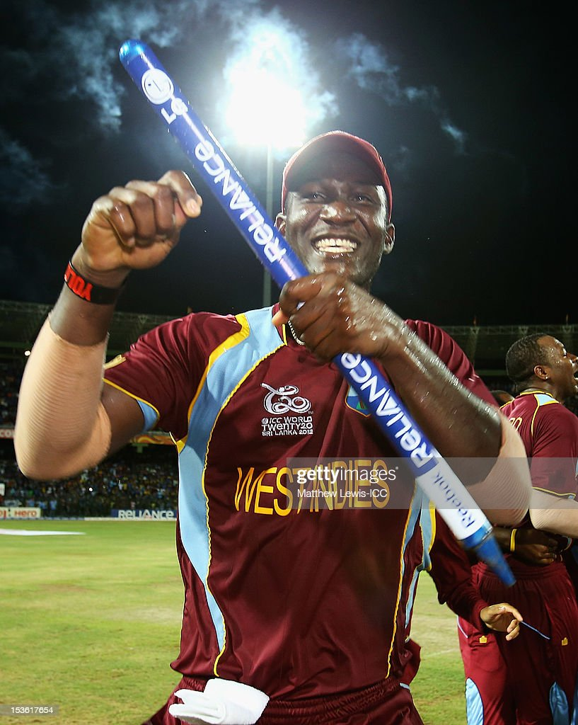 <a gi-track='captionPersonalityLinkClicked' href=/galleries/search?phrase=Darren+Sammy&family=editorial&specificpeople=2920912 ng-click='$event.stopPropagation()'>Darren Sammy</a> of the West Indies celebrates winning the ICC World Twenty20 2012 Final between Sri Lanka and West Indies at R. Premadasa Stadium on October 7, 2012 in Colombo, Sri Lanka.