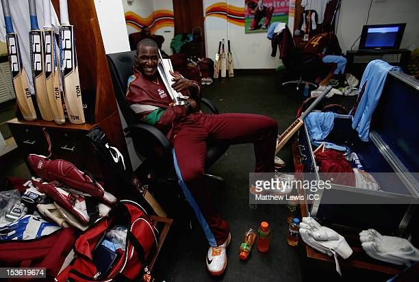 Darren Sammy of the West Indies celebrates winning the ICC World Twenty20 2012 Final between Sri Lanka and West Indies at R Premadasa Stadium on...