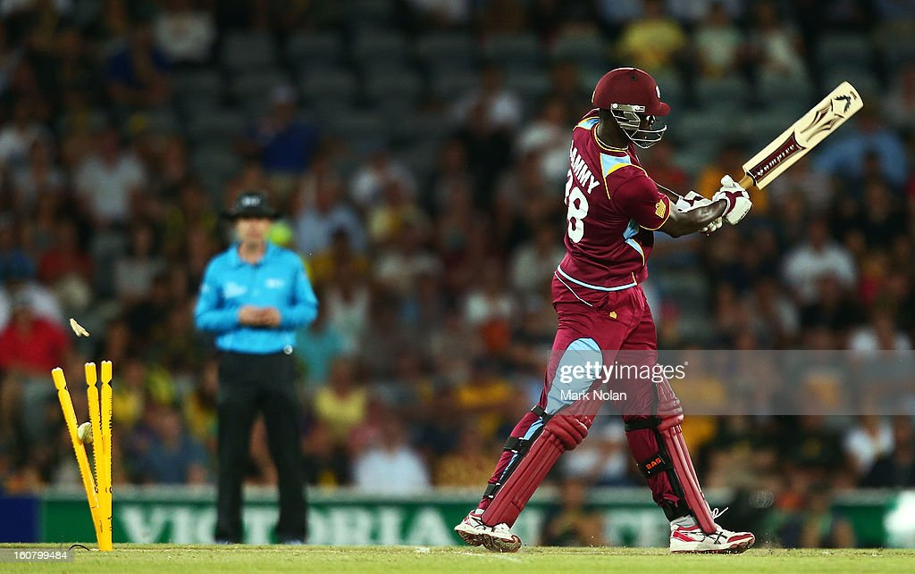 Darren Sammy of the West Indies is bowled by James Faulkner of Australia during the Commonwealth Bank One Day International Series between Australia and the West Indies at Manuka Oval on February 6, 2013 in Canberra, Australia.
