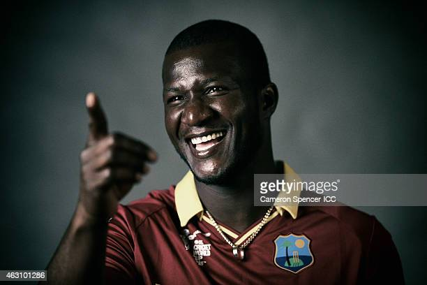 Darren Sammy of the West Indies poses during the West Indies 2015 ICC Cricket World Cup Headshots Session at the Intercontinental on February 8 2015...