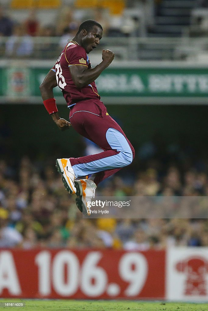 <a gi-track='captionPersonalityLinkClicked' href=/galleries/search?phrase=Darren+Sammy&family=editorial&specificpeople=2920912 ng-click='$event.stopPropagation()'>Darren Sammy</a> of West Indies celebrates after dismissing Aaron Finch of Australia during the International Twenty20 match between Australia and the West Indies at The Gabba on February 13, 2013 in Brisbane, Australia.