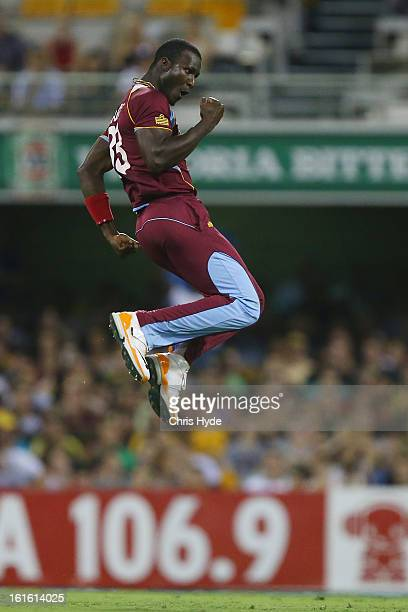 Darren Sammy of West Indies celebrates after dismissing Aaron Finch of Australia during the International Twenty20 match between Australia and the...