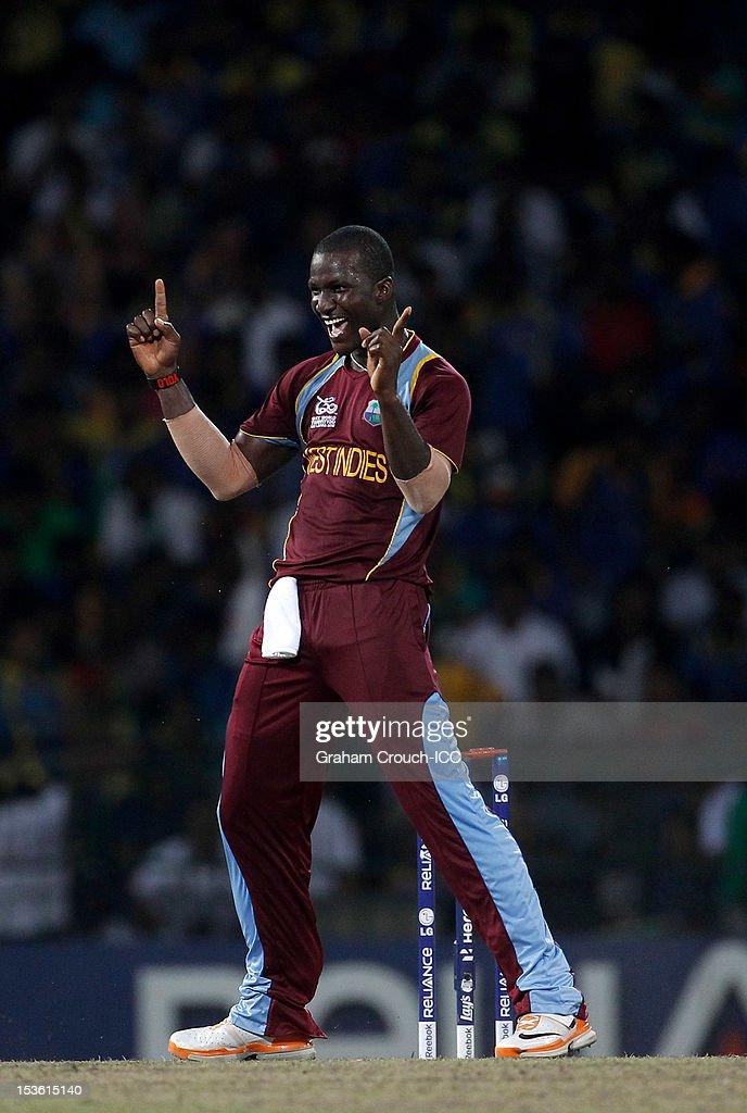 Darren Sammy of West Indies celebrates his dismissal of Lahiru Thirimanna of Sri Lanka during the ICC World Twenty20 2012 Final between Sri Lanka and West Indies at R. Premadasa Stadium on October 7, 2012 in Colombo, Sri Lanka.