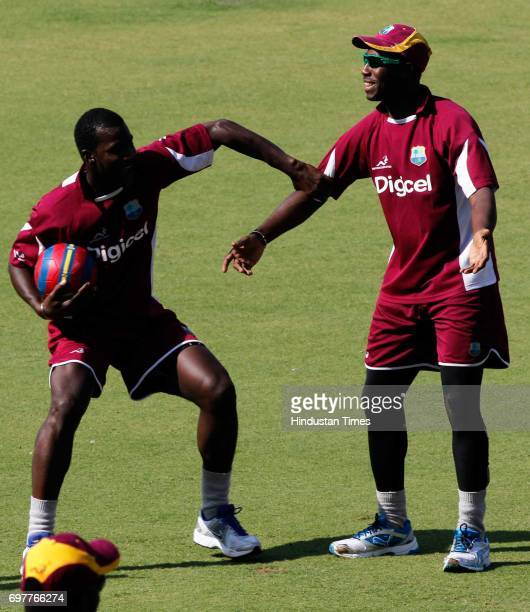 Darren Sammy of West Indies practices at 3rd One day match of Airtel ODI series held at Sardar Patel Gujarat Stadium on Sunday in Ahmedabad