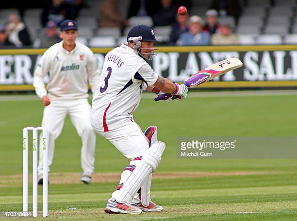 Darren Stevens of Kent batting during the LV County Championship match at the Essex County Cricket Ground on April 19 2015 in Chelmsford England