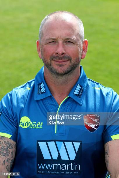Darren Stevens of Kent CCC poses in the One Day Cup competition kit during the Kent CCC Photocall at The Spitfire Ground on March 31 2017 in...