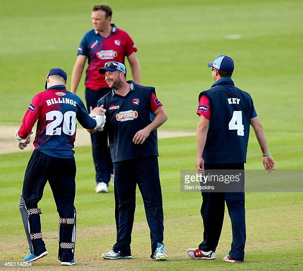 Darren Stevens of Kent celebrates after running out Adam Wheater of Hampshire during the Natwest T20 Blast match between Hampshire and Kent Spitfires...