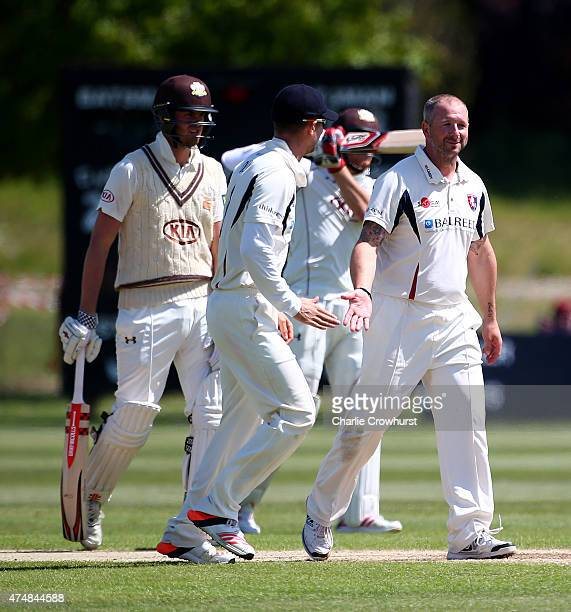 Darren Stevens of Kent celebrates after taking the wicket of Matthew Dunn of Surrey during day four of the LV County Championship match between Kent...