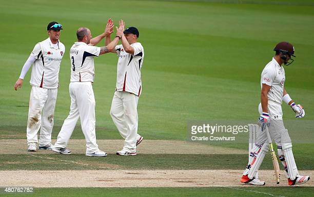 Darren Stevens of Kent celebrates taking the wicket of Ben Foakes of Surrey during day three of the LV County Championship match between Surrey and...