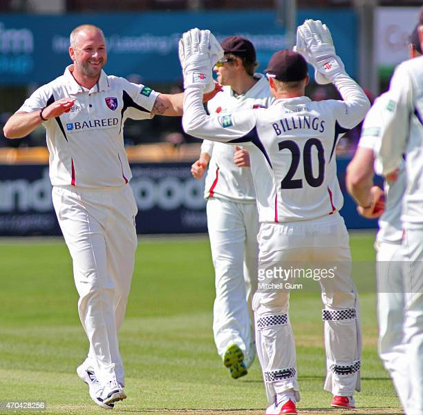 Darren Stevens of Kent celebrates taking the wicket of Greg Smith of Essex during day two of the LV County Championship Division Two match between...