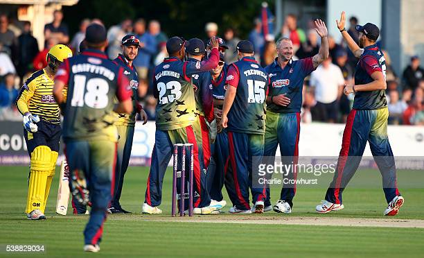 Darren Stevens of Kent celebrates with team mates after taking the wicket of Hampshire's Jimmy Adams during the NatWest T20 Blast match between Kent...