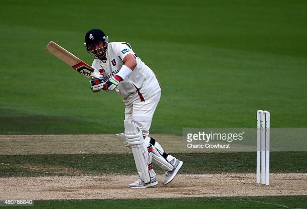 Darren Stevens of Kent hits out during day three of the LV County Championship match between Surrey and Kent at The Kia Oval on July 15 2015 in...