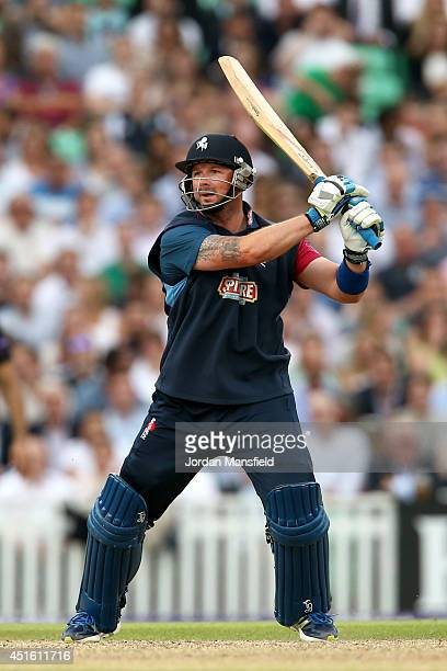 Darren Stevens of Kent hits out during the Natwest T20 Blast match between Surrey and Kent Spitfires at The Kia Oval on July 2 2014 in London England