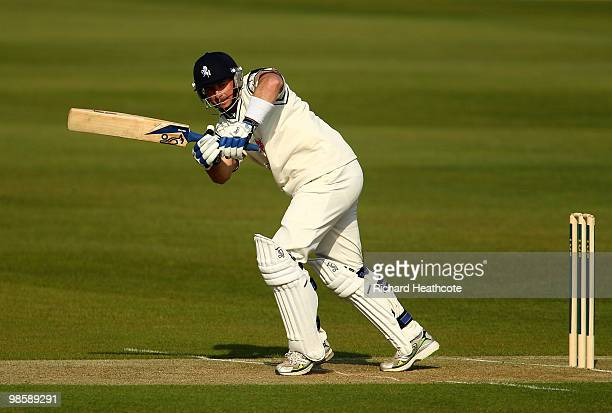 Darren Stevens of Kent hits some runs during day one of the LV= County Championship division one match between Kent and Yorkshire at The St Lawrence...