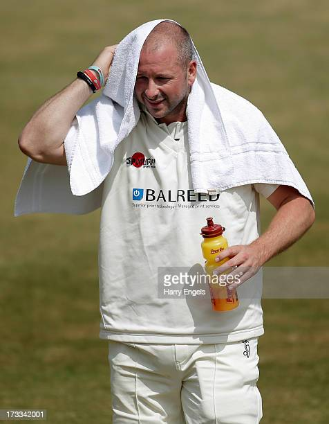 Darren Stevens of Kent towels himself off during a drinks break on day three of the LV County Championship second division match between...