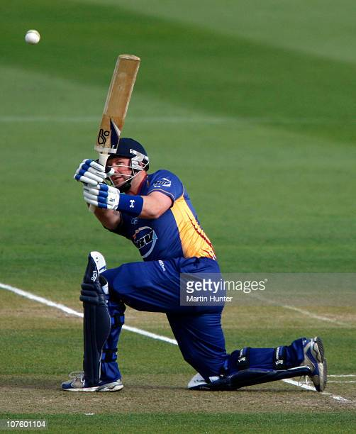 Darren Stevens of the Volts bats during the HRV Cup Twenty20 match between the Canterbury Wizards and the Otago Volts at QE II Park on December 15...