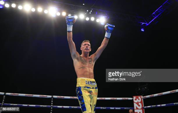 Darren Tetley celebrates after beating Terry Needham during the Welterweight contest fight at First Direct Arena Leeds on October 21 2017 in Leeds...