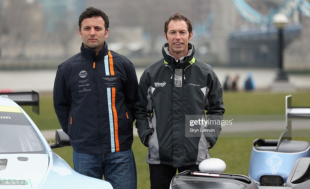 Darren Turner and Jonny Kane pose during the 2013 FIA World Endurance Championship Photo Call on March 22 2013 at Potters Fields in London England