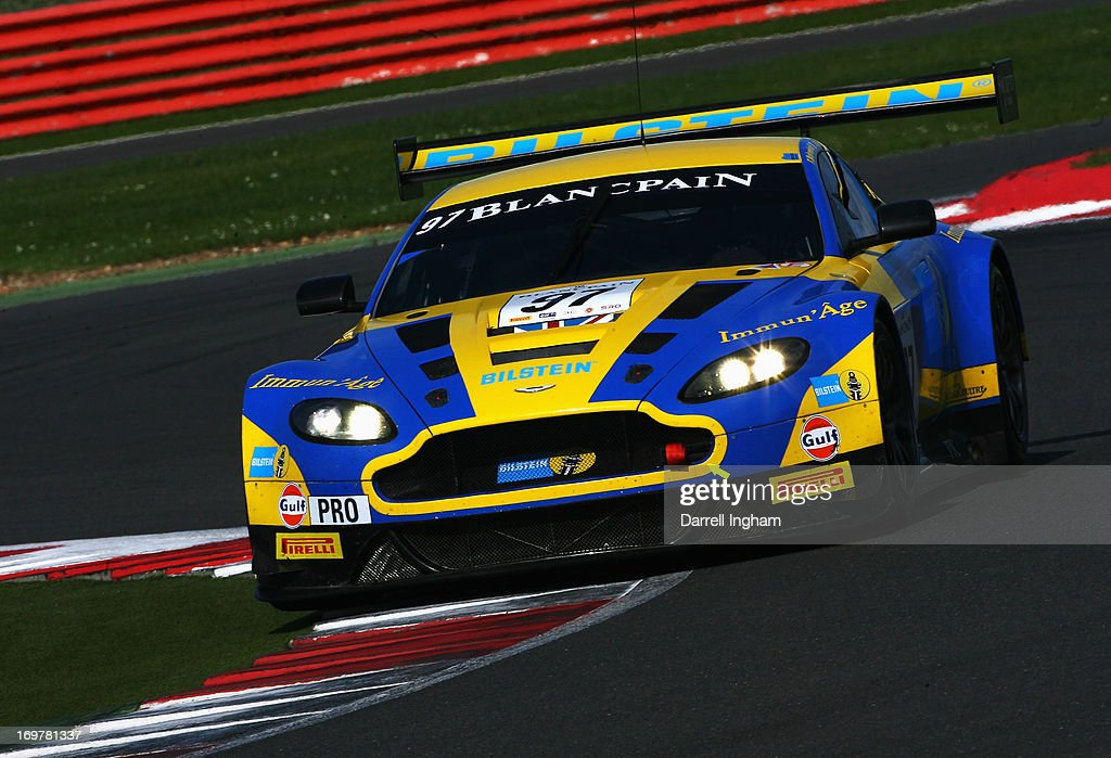 Darren Turner drives the Aston Martin Racing Aston Martin Vantage GT3 during practice for the Blancpain Endurance GT Series race at the Silverstone...