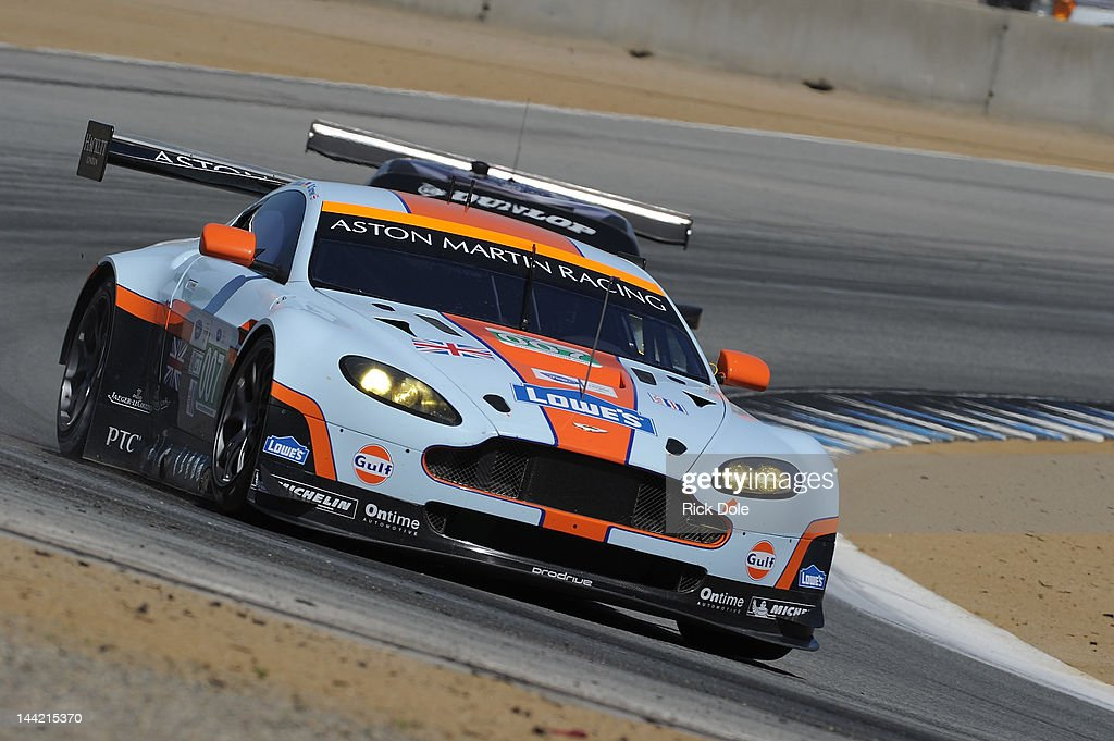 Darren Turner of England drives the HackettLowes/Gulf Aston Martin Vantage during practice for the American Le Mans Series presented by Patron at...