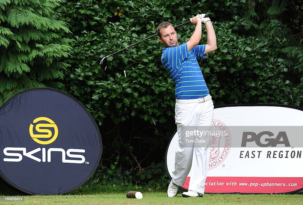 Darren Turner of South Essex Golf Centre tees off from the 2nd hole during the Skins PGA Fourball Championship Regional Qualifier at Bush Hill Park...