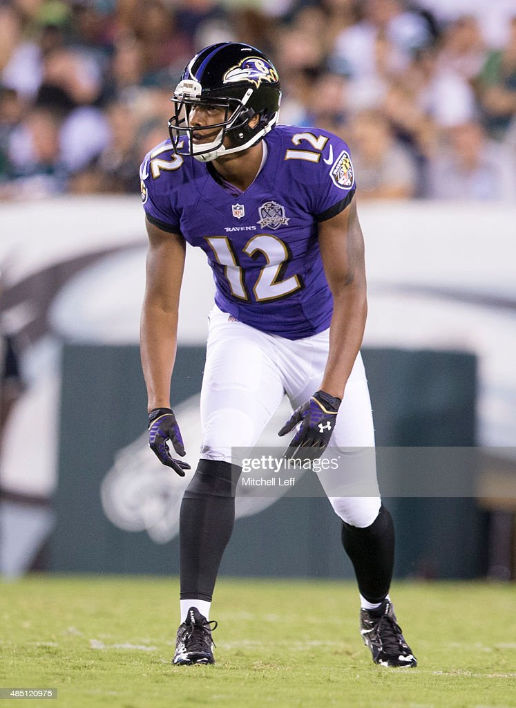 <a gi-track='captionPersonalityLinkClicked' href=/galleries/search?phrase=Darren+Waller&family=editorial&specificpeople=8583964 ng-click='$event.stopPropagation()'>Darren Waller</a> #12 of the Baltimore Ravens plays in the game against the Philadelphia Eagles on August 22, 2015 at Lincoln Financial Field in Philadelphia, Pennsylvania.
