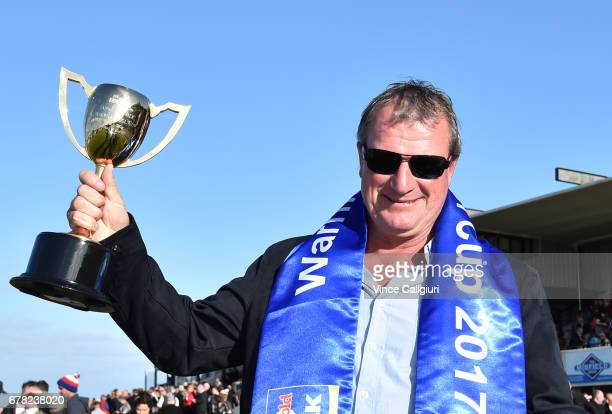Darren Weir poses with the cup after High Church won Race 8 Warrnambool Cup during the Warrnambool Racing Carnival on May 4 2017 in Warrnambool...