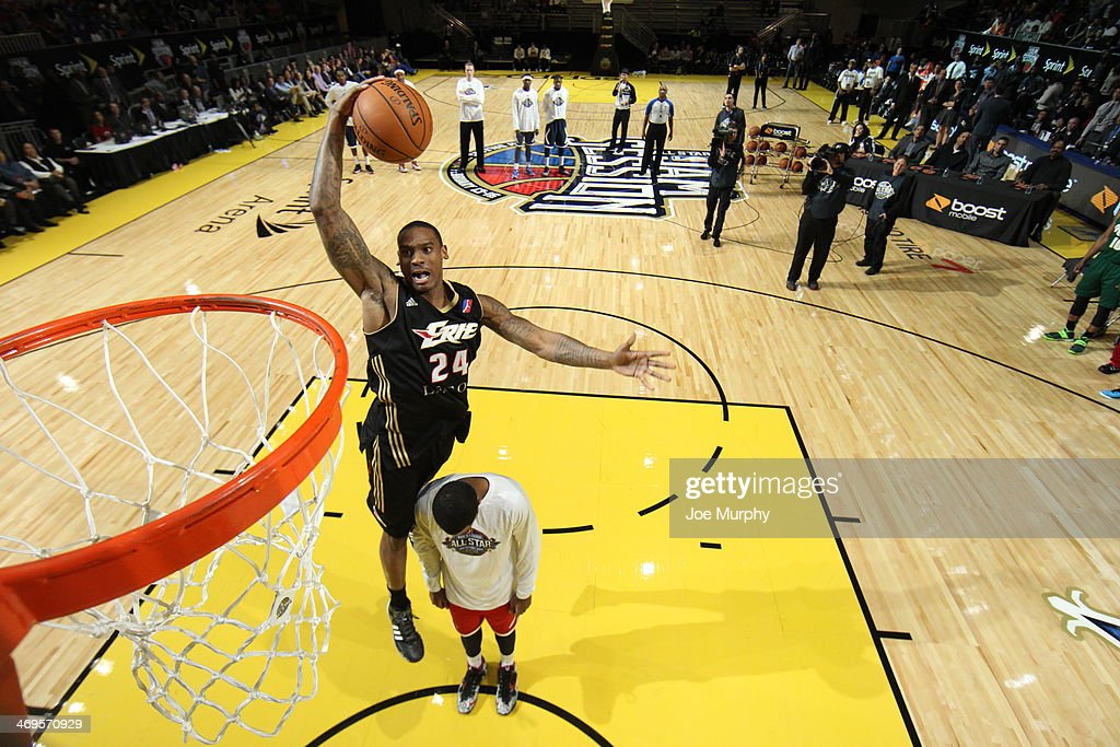 Darren White #24 of the Erie BayHawks dunks during the Slam Dunk Contest as part of the NBA Dream Factory presented by Boost Mobile 2014 at Sprint Arena as part of 2014 NBA All-Star Weekend at the Ernest N. Morial Convention Center on February 15, 2014 in New Orleans, Louisiana.