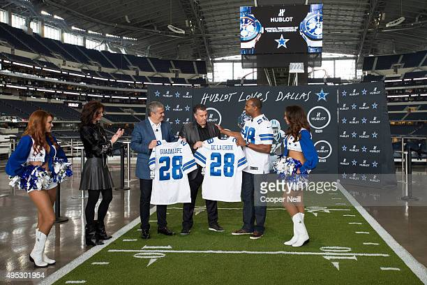 Darren Woodson presents Ricardo Guadalupe and Rick De La Croix with Dallas Cowboys jerseys as Hublot unveils the Big Bang Dallas Cowboys timepieces...