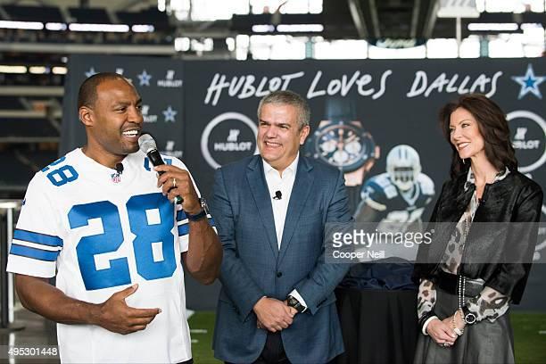 Darren Woodson Ricardo Guadalupe and Charlotte Jones Anderson unveil the Hublot Big Bang Dallas Cowboys timepieces at ATT Stadium on November 1 2015...
