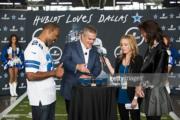 Darren Woodson Ricardo Guadalupe Dana Jones and Charlotte Jones Anderson unveil the new Hublot Big Bang Dallas Cowboys timepieces at ATT Stadium on...