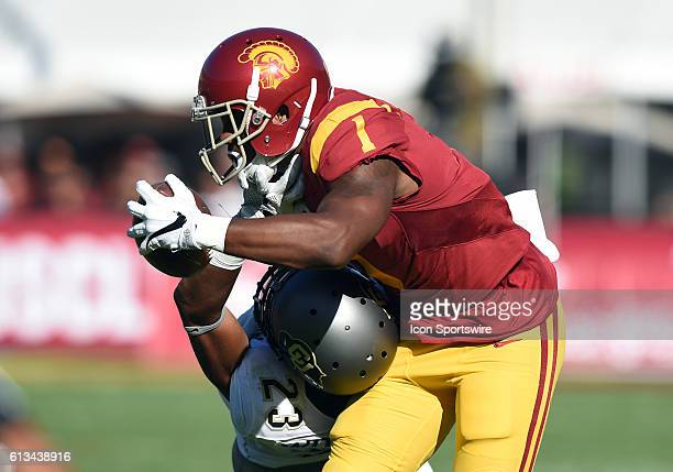 Darreus Rogers catches a pass against Colorado Ahkello Witherspoon during an NCAA football game between the Colorado Buffaloes and the USC Trojans on...