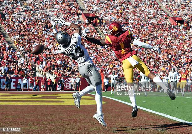 Darreus Rogers misses a pass against Colorado Ahkello Witherspoon during an NCAA football game between the Colorado Buffaloes and the USC Trojans on...