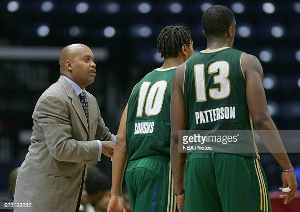 Darrick Martin head coach of the Reno Bighorns talks to Isaiah Cousins center during the fourth quarter of their game against the Rio Grande Valley...
