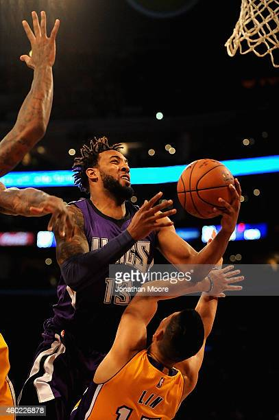 Darrick Williams of the Sacramento Kings goes up for a shot against Jeremy Lin of the Los Angeles Lakers during a game at Staples Center on December...