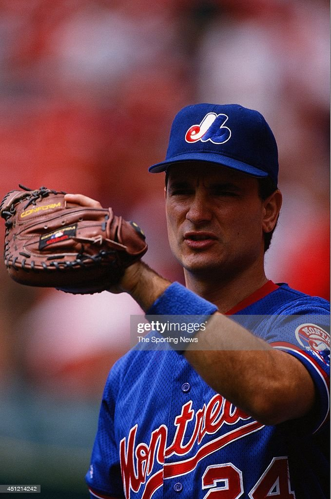 <a gi-track='captionPersonalityLinkClicked' href=/galleries/search?phrase=Darrin+Fletcher&family=editorial&specificpeople=233630 ng-click='$event.stopPropagation()'>Darrin Fletcher</a> of the Montreal Expos warms up against the St. Louis Cardinals at Busch Stadium on July 28, 1996 in St. Louis, Missouri. The Cardinals defeated the Expos 6-4.
