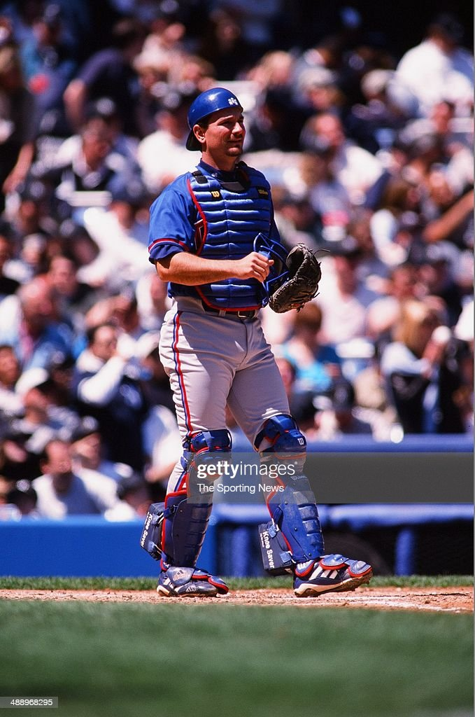 <a gi-track='captionPersonalityLinkClicked' href=/galleries/search?phrase=Darrin+Fletcher&family=editorial&specificpeople=233630 ng-click='$event.stopPropagation()'>Darrin Fletcher</a> of the Toronto Blue Jays looks on against the New York Yankees at Yankee Stadium on April 30, 2000 in the Bronx borough of New York City. The Yankees defeated the Blue Jays 7-1.