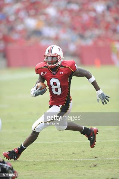 Darrius HeywardBey of the Maryland Terrapins scores a touchdown against the Delaware Blue Hens on August 30 2008 at Byrd Stadium in College Park...