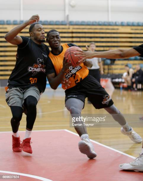 Darrius Oldham drives to the basket during the NBL Combine 2017/18 at Melbourne Sports and Aquatic Centre on April 18 2017 in Melbourne Australia