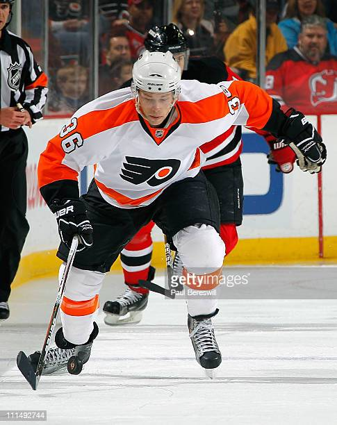 Darroll Powe of the Philadelphia Flyers skates during an NHL hockey game against the New Jersey Devils at the Prudential Center on April 1 2011 in...