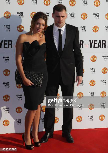 Darron Gibson arrives with girlfriend Danielle Carter for Manchester United 2011 Player of the Year award at Old Trafford Manchester