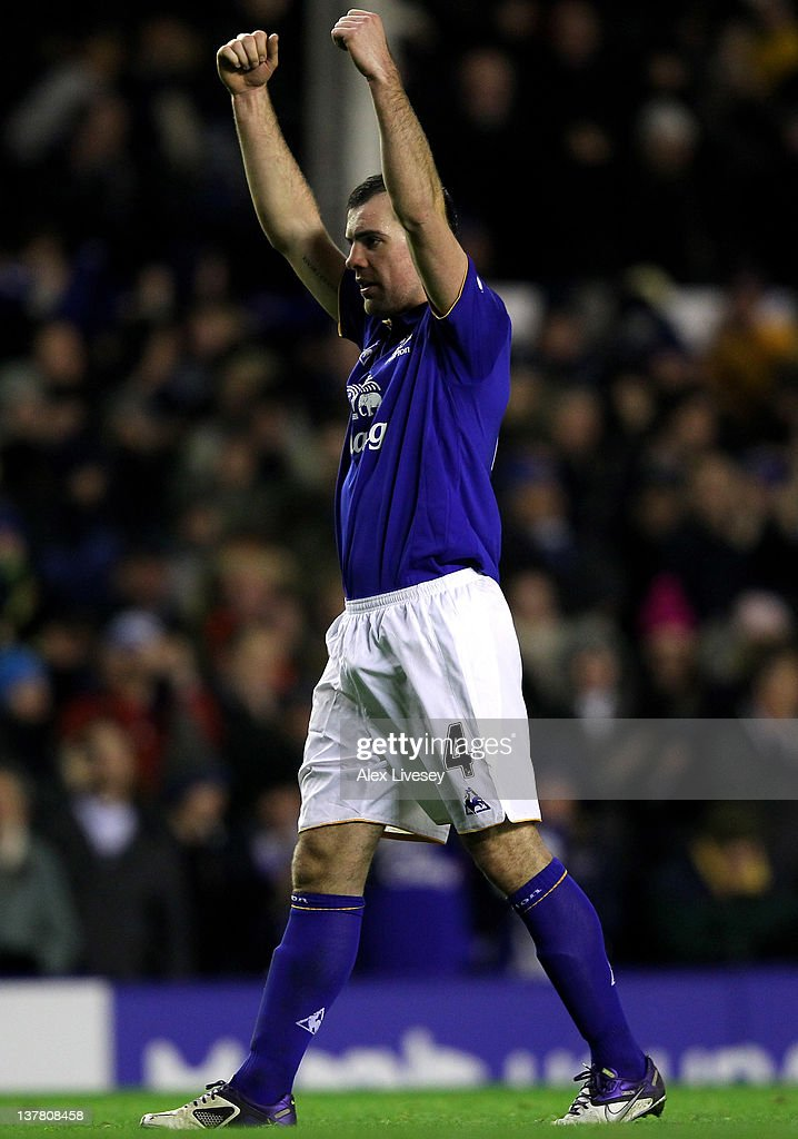 Darron Gibson of Everton celebrates at the end of the FA Cup Fourth Round match between Everton and Fulham at Goodison Park on January 27, 2012 in Liverpool, England.